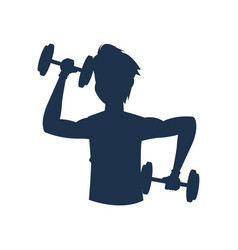 silhouette fitness man barbell workout vector image
