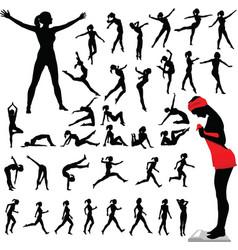 fitness women calisthenics aerobics dance vector image vector image