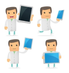 set of funny cartoon doctor vector image vector image