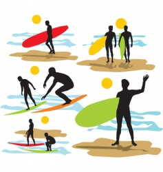 set surfers silhouettes vector image vector image