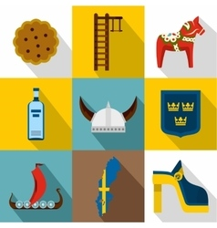 Tourism in Sweden icons set flat style vector image vector image