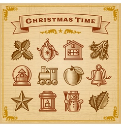 Vintage Christmas Decorations vector image