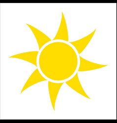yellow sun icon isolated on white background flat vector image