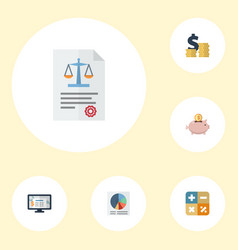 flat icons act pie bar moneybox and other vector image