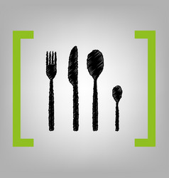 fork spoon and knife sign black scribble vector image vector image