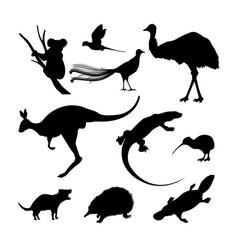 set of black silhouettes of australian animals vector image vector image