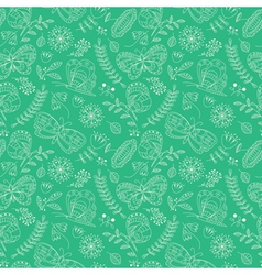 buterfly and beauty flowers seamless pattern vector image vector image