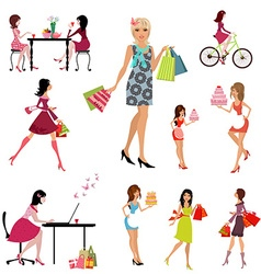 Collection of beautiful fashion young women vector image vector image
