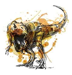 Colored hand sketch tyrannosaurus vector image vector image
