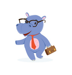 funny baby hippo businessman character in glasses vector image vector image