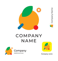 modern orange with a leaf logo simple and clean vector image