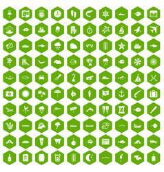 100 marine environment icons hexagon green vector