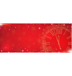 2018 happy new year with gold clock on red vector
