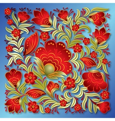 abstract red floral ornament on a blue background vector image