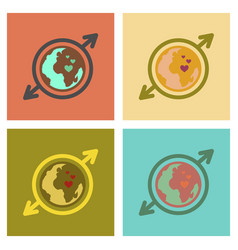 Assembly flat icons earth gays symbol vector