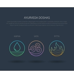 Ayurveda doshas thin icons isolated on dark vector image