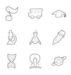 back to school icons set outline style vector image