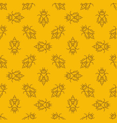 bee yellow linear seamless pattern or vector image