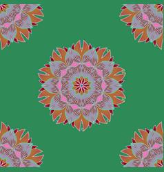 Boho style flower seamless pattern green neutral vector