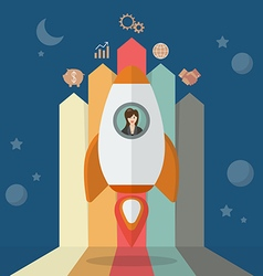 Business woman on a rocket with arrow bar chart vector image