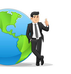 Businessman leaning on globe vector