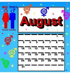 Calendar for August festival womens vector