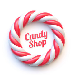 Candy cane circle frame on white background vector