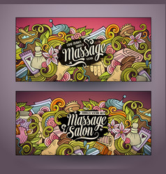 cartoon doodles massage salon 2 horizontal banners vector image