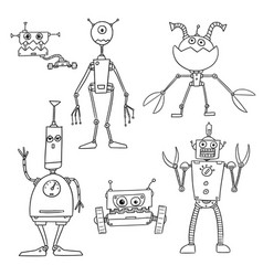 Cartoon robot set04 vector