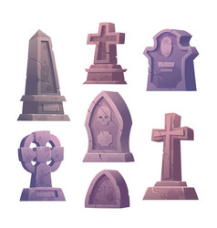 Cemetery tombstones graveyard buildings icons set vector