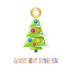 christmas card template with green christmas tree vector image