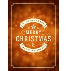 Christmas lights and typography label design vector