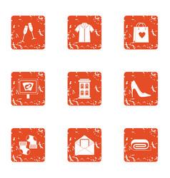 Christmastime icons set grunge style vector