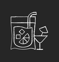 Cocktail-to-go chalk white icon on black vector