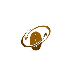coffee bean and arrow logo combination vector image