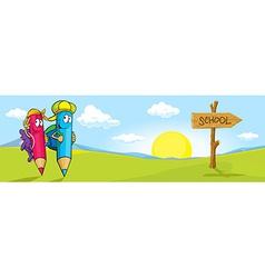 colored pencils cartoon with school bags go to vector image