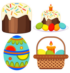 colorful easter candle egg basket cake icon set vector image vector image