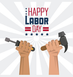 colorful poster of happy labor day with hands with vector image