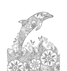 Coloring page with one jumping dolphin in the sea vector image