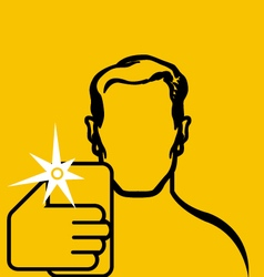 Contour of man taking selfie with smartphone in vector