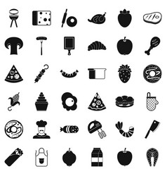 cooked food icons set simple style vector image