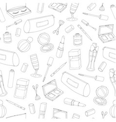 cosmetics seamless pattern with bottles lacquer vector image