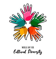 Cultural diversity day poster color human hands vector