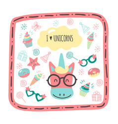 Cute hand drawn cards with a unicorn vector