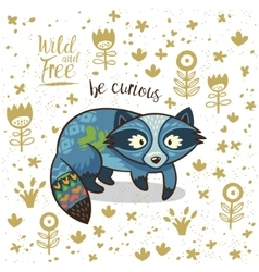 Cute indian raccoon with text be vector