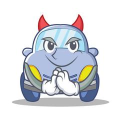 Devil cute car character cartoon vector