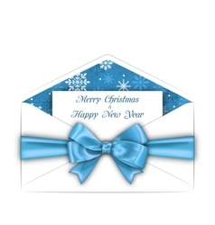 Envelope with Greeting Card and Blue Bow Ribbon vector