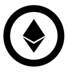 Etherium icon black color in circle round vector