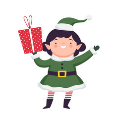 Fairy girl elf in green hat and striped stocking vector