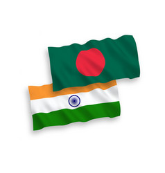 Flags india and bangladesh on a white vector